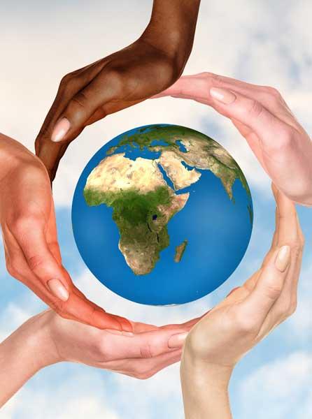 Hands-around-globe